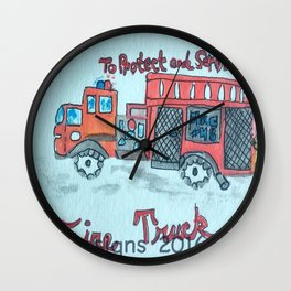 F is for Fire Engine Wall Clock