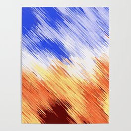 blue brown and white painting texture abstract background Poster
