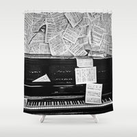 piano Shower Curtains featuring Piano  by Rachel von Hahn
