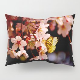 Yellow Butterfly Kissing Pink Cherry Blossom Pillow Sham
