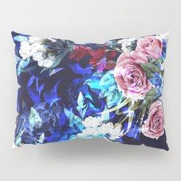 Dark Blue Floral Pattern Pillow Sham