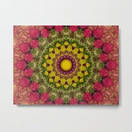 Spring Flowers Mandala Metal Print