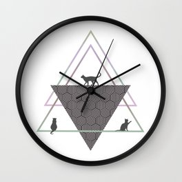Cats and Geometric Wall Clock
