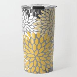 Modern Elegant Chic Floral Pattern, Soft Yellow, Gray, White Travel Mug