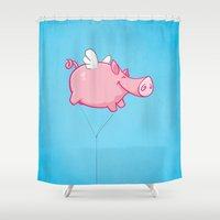woodstock Shower Curtains featuring Flying Pig Animal by Nxolab
