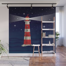 Cartoon landscape with lighthouse night sea and starry sky Wall Mural