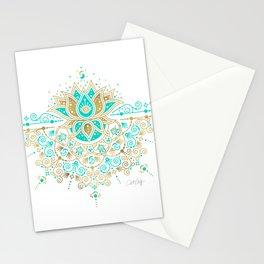 Sacred Lotus Mandala – Turquoise & Gold Palette Stationery Cards