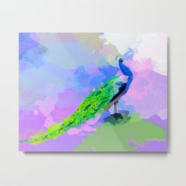 Peacock Dream - peacock painting, animal illustration, colorful Metal Print