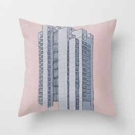 Brutalist Architecture Apartment Block Throw Pillow