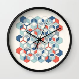 Soft Red, White & Blue Hexagon Pattern Play Wall Clock