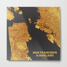 Street Map of San Francisco and Oakland, California Metal Print