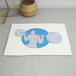 Strongman Powerlifting Barbell Drawing Rug