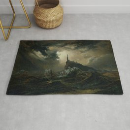 Carl Blechen - Stormy Sea with Lighthouse - German Romanticism - Oil Painting Rug