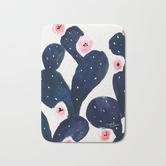 Cactus Bloom Midnight Bath Mat