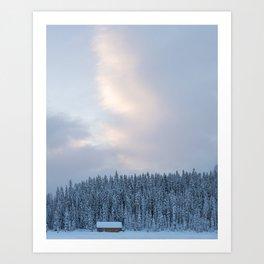 Lake Cabin Sunrise Art Print