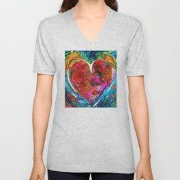 Colorful Heart Art - Everlasting - By Sharon Cummings Unisex V-Neck