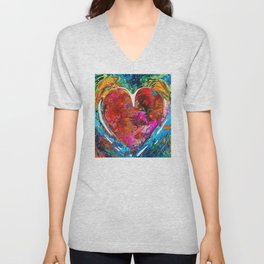 Colorful Heart Art - Everlasting - By Sharon Cummings Unisex V-Neck