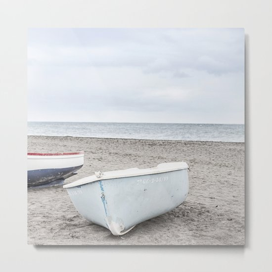 Lonely boats at the beach Metal Print