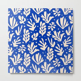 matisse pattern with leaves in blu Metal Print