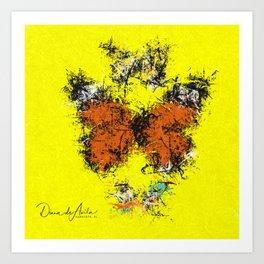 3 Butterflies Splatter Abstract Art Print