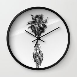 Malibu Beach Palm // Black and White California Beach Vibes Jetstream Sky Photograph Wall Clock