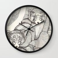pandas Wall Clocks featuring red pandas by Polkip