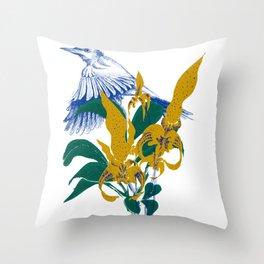 Midnight blooms - Asian paradise fly catcher bird Throw Pillow