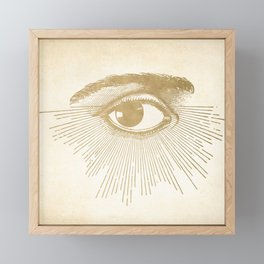 I See You. Vintage Gold Antique Paper Framed Mini Art Print