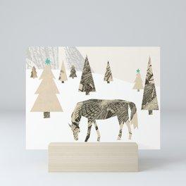 Winter Woods with Horse Mini Art Print