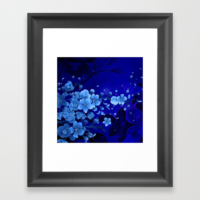 Cherry blossom, blue colors Gerahmter Kunstdruck