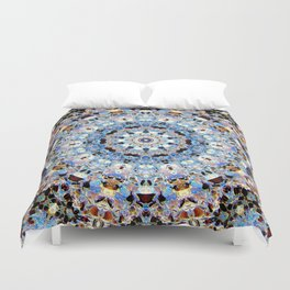 Blue Brown Folklore Texture Mandala Duvet Cover