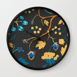 Red berry, Christmas Brier Spray Pattern. Hand drawn, whimsical, traditional style Wall Clock