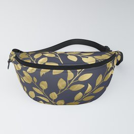 Gold Leaves on Navy Fanny Pack