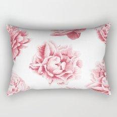 Pink Rose Garden on White Rectangular Pillow