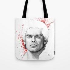 Dexter Morgan Portrait, Blood Splatters Tote Bag
