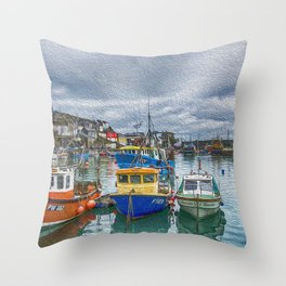 Boats in Mevagissey Harbour. Throw Pillow