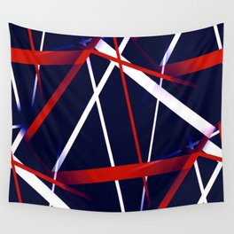 Seamless Red and White Stripes on A Blue Background Wall Tapestry
