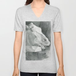 Portrait of a sculptural head of a horse, drawing with a graphite pencil Unisex V-Neck