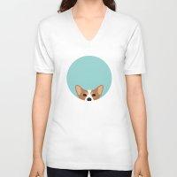 corgi V-neck T-shirts featuring Corgi by Anne Was Here