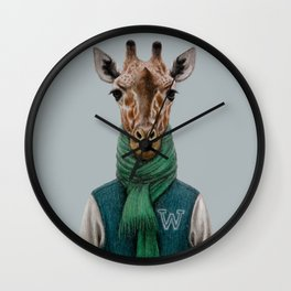 the giraffe in jacket. Wall Clock