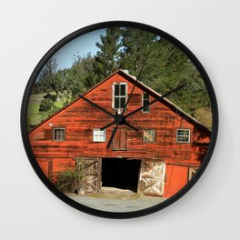 Old Red Barn Wall Clock