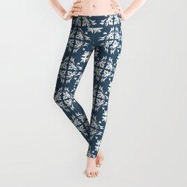 Dusky Blue Flower Flourish Pattern Leggings