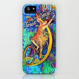 BICYCLETTE SUR LA LUNE Mixed Media Art iPhone Case
