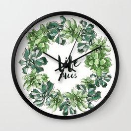Life Succs - succulent wreath Wall Clock