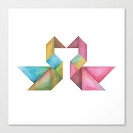 Tangram Swans Canvas Print