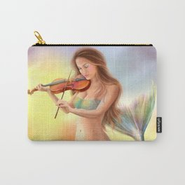 Beautiful woman fantasy mermaid plays on violin on sunset Carry-All Pouch