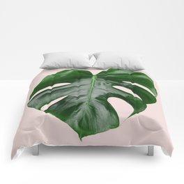 Pink Monstera Comforters