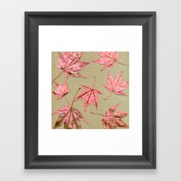 Japanese maple leaves - pink on natural unbleached paper Framed Art Print