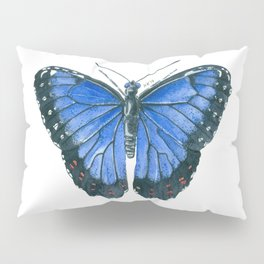 Blue Morpho butterfly watercolor painting Pillow Sham