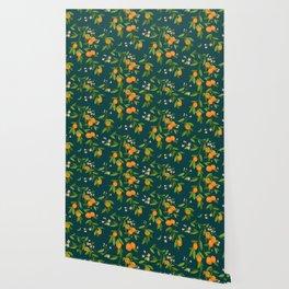 Citrus Tree - Navy Wallpaper